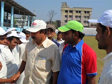 Professor Josim Uddin Handshaking with Cox's Bazar Blind Cricket Player's