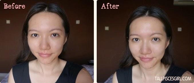 Before and After Using Shiseido Senka UV Mineral Essence SPF50+ PA++++