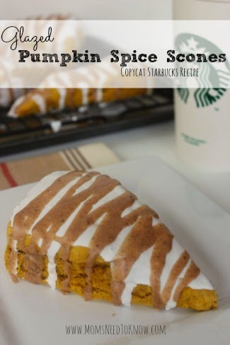 Moms Needs to Know shared her Glazed Pumpkin Spice Scones Copycat Starbucks Recipe featured at One More Time Events.com