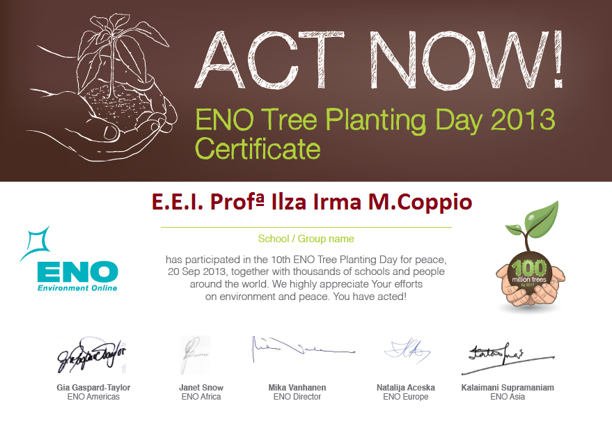 Certificado ENO TREE PLANTING DAY