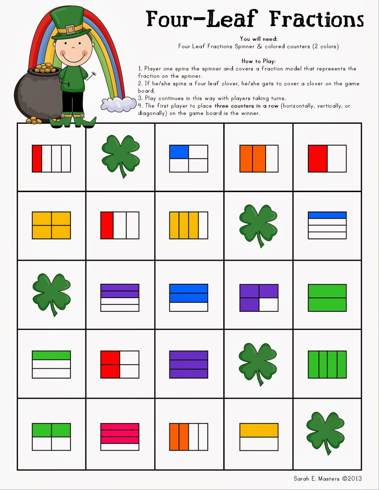 http://www.teacherspayteachers.com/Product/St-Patricks-Day-Fraction-Math-Game-Four-Leaf-Fractions-Game-602480