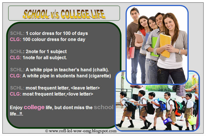 Essay on difference between school life and college life