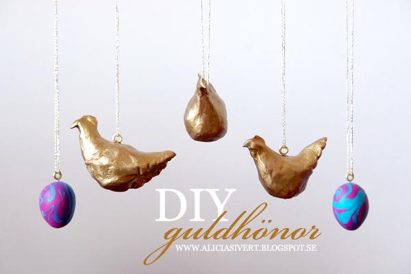 aliciasivert, alicia sivert, alicia sivertsson, diy, tutorial, easter, lera, clay, skruvöglor, guldtråd, påsk, påskadvent, höna, hönor, höns, hen, gold, golden, gilded, gyllene, guld, guldhönor, guldhöns, guldhöna, påskpynt, påskris, dekoration, easter tree, decoration