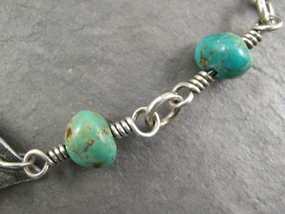 sterling silver rosary wrapped Royston turquoise