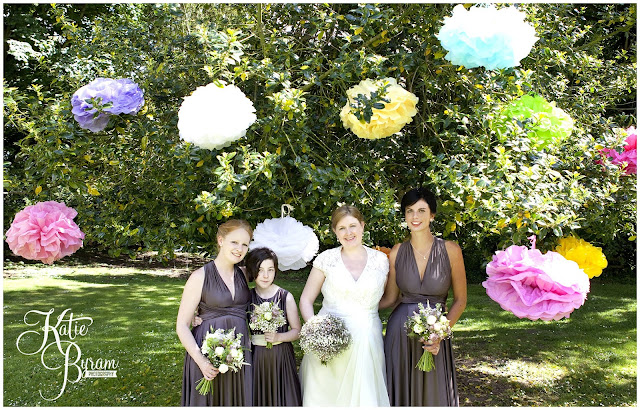 paper pompoms, diy wedding, two birds bridesmaid dresses, ellingham hall, ellingham hall wedding, northumberland wedding photographer, newcastle wedding photographer, ceremony signs, paper pom poms, quirky wedding photography, katie byram photography, diy wedding