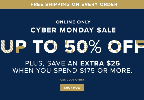 Hudson's Bay Cyber Monday Up To 50% Off + Extra $25 Off $175 + Free Shipping on Every Order