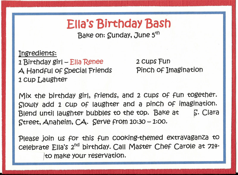 Invite and delight cooking party ellas 2nd birthday the red backing you see on the invite pulled out of the pocket and had all the party details in recipe format this was so much fun an easy invite to stopboris Gallery