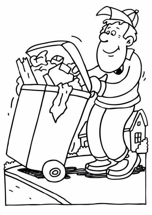 dibujo de recolector de basura para colorear