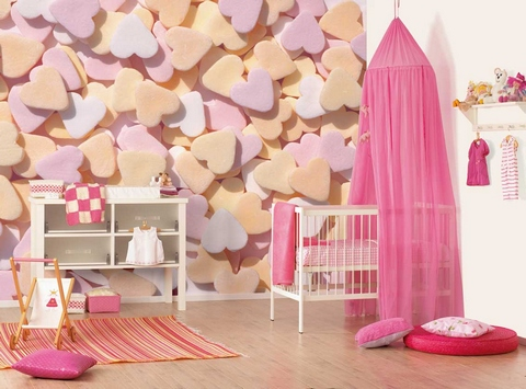 [Great wallpaper with hundreds of hearts for girls' room]