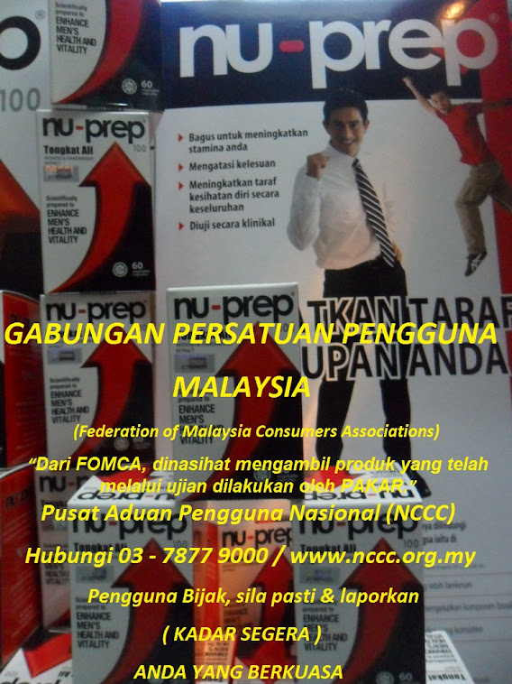 Clinical studies,evidence-Federation of Malaysia consumers Associations FOMCA Nu-Prep 100 USpatent