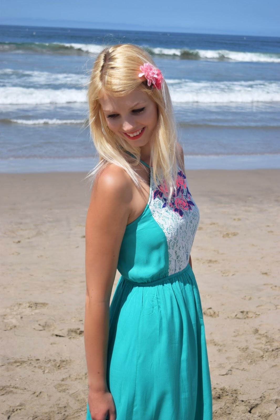 Pinkblush maxi dress, santa monica beach