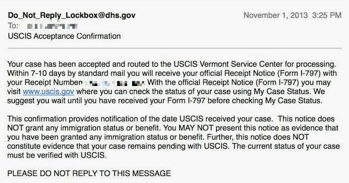 Mr. Gray 미국에서 UX 디자이너 되기: I-539(비자변경신청서) 접수 결과를 문자와 이메일로 통보 받기