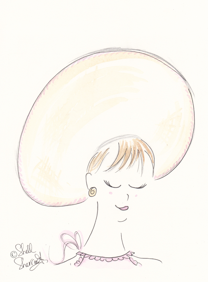 fashion illustration, Hatted Pale Pink Pixie copyright Shell Sherree