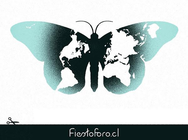 Mapa del mundo en forma de mariposa