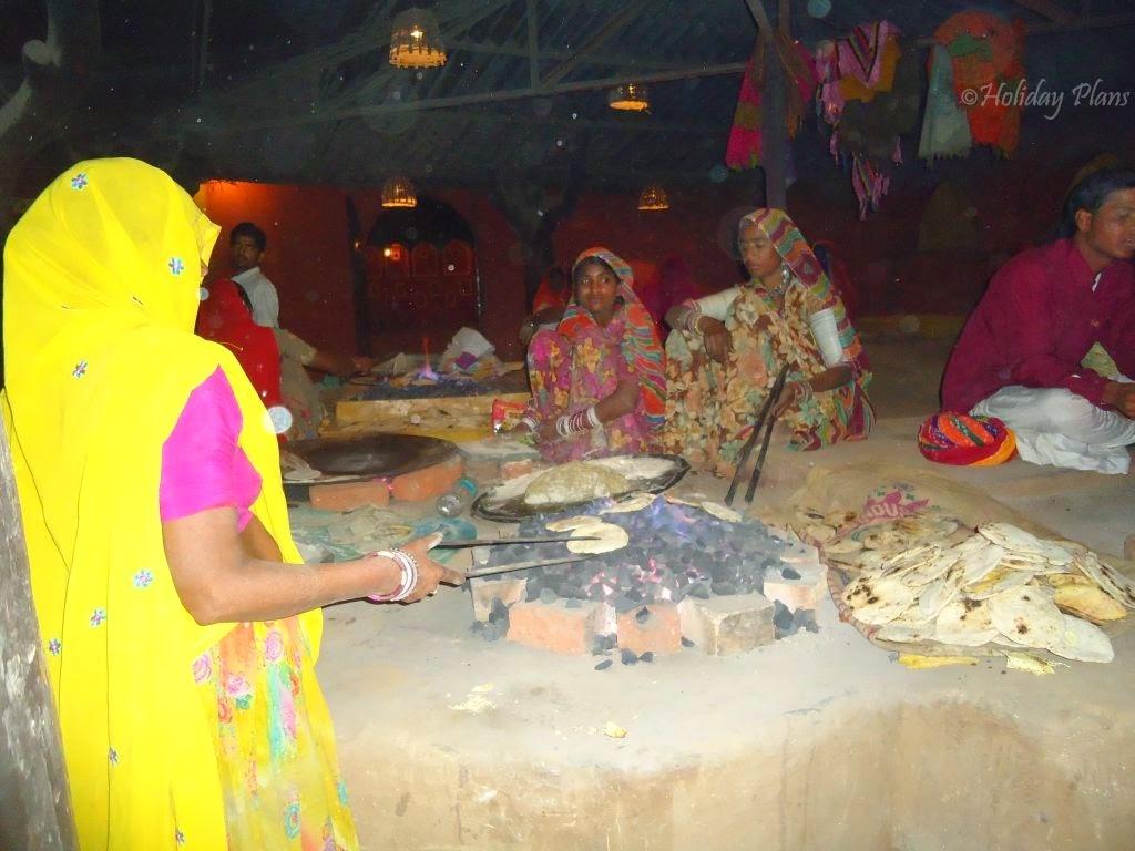 Fresh chapatis at dining