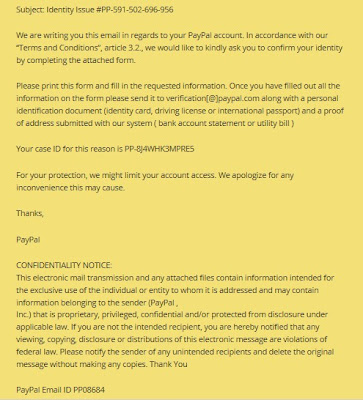 PayPal Email Phishing Scam