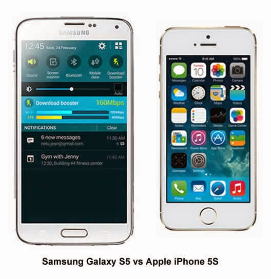 Samsung Galaxy S5, iPhone 5S vs Samsung Galaxy S5, OLED screen, retina, iOS, Android, Android vs iOS, Apple vs Samsung, new smartphone, HDR,