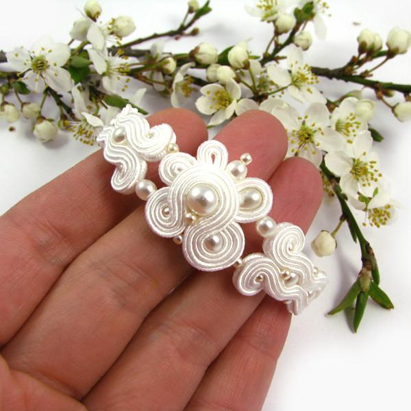 Bransoletka ślubna sutasz z perłami