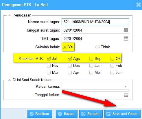 cara pengisian tab PTK khsusunya bagian penugasan 2014 2015 serta fungsinya tab penugasan tersebut.