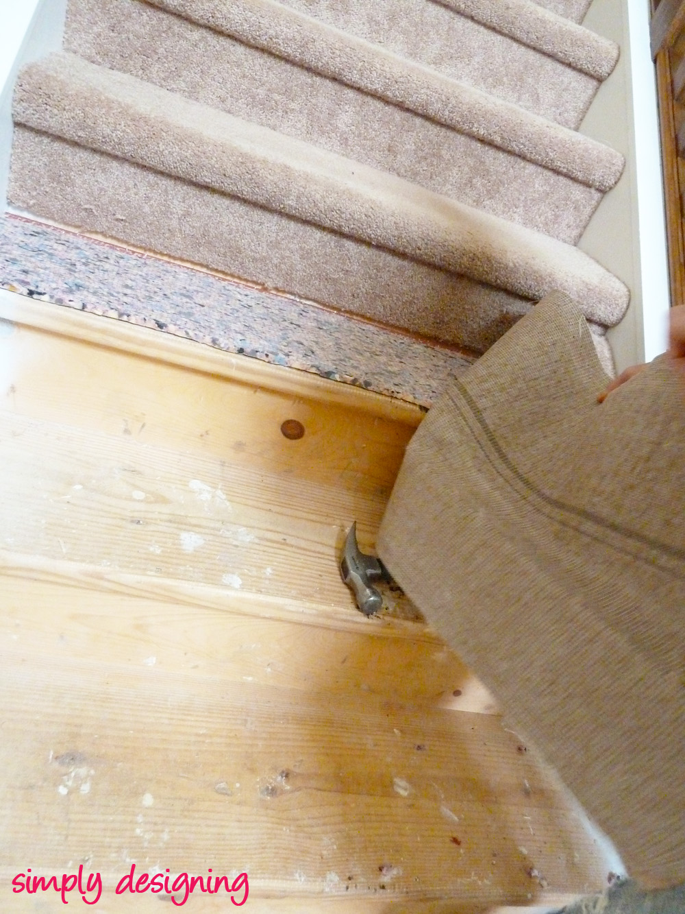 How To Redo Stairs By Ripping Up The Padding On The Stairs
