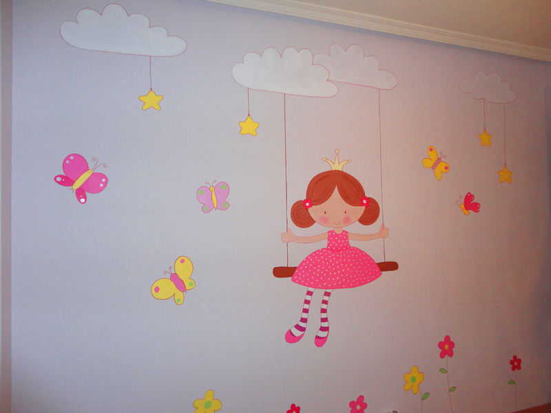 Decopared mural ni a en columpio madrid for Murales infantiles nina