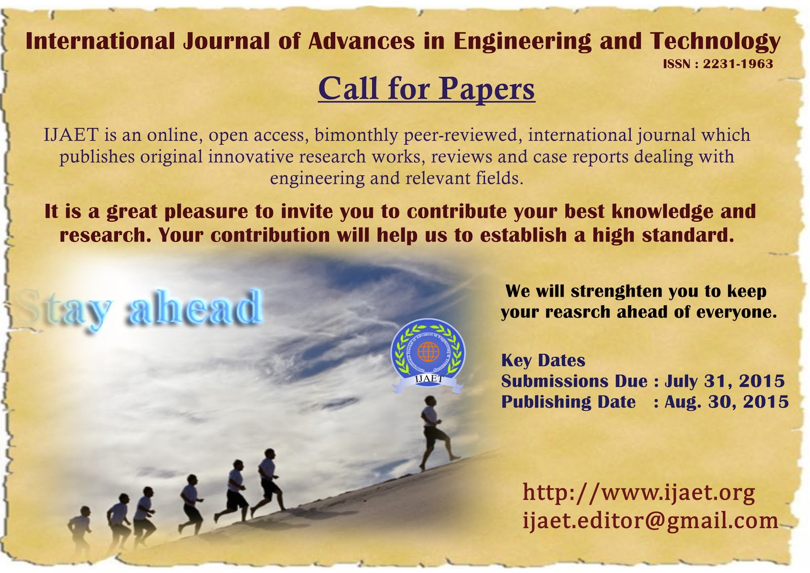 Call for Engineering papers-IJAET