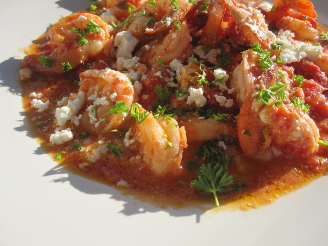 Greek Shrimp--Garides saganaki is a dish made of shrimp (garides ...