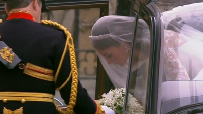 Catherine coming out of the royal car at Westminster Abbey. YouTube 2011.