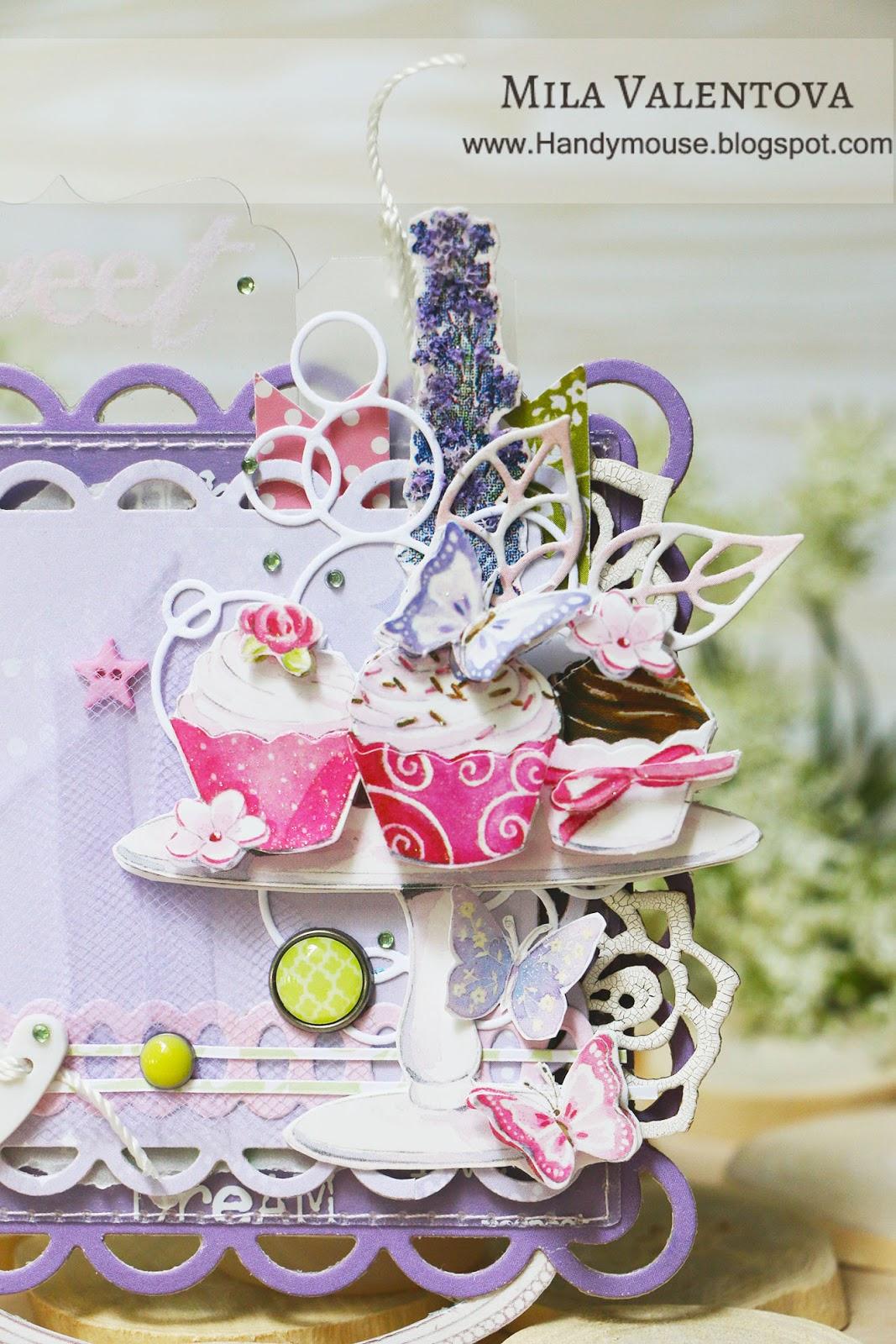 Магнит. Лавандовые цветы и сладости для милой девочки. Мила Валентова.
