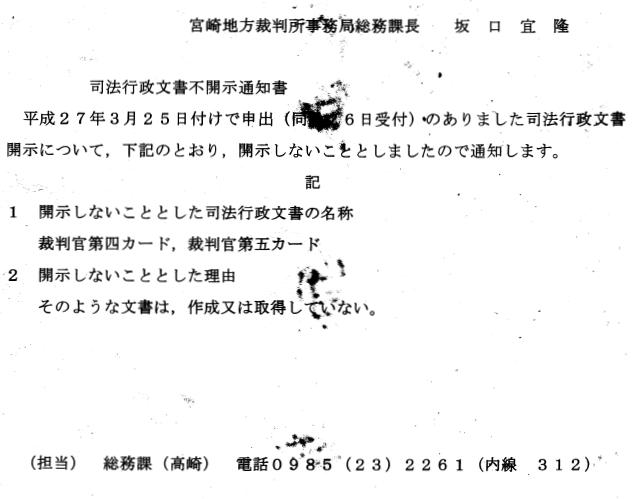宮崎地方裁判所事務局総務課長坂口宜隆 事務連絡 平成27年3月25日付けで申出(同月26日受付)のありました下記の司法行 政文書の開示について,別紙のとおり情報提供します。 記 塚原聡(宮崎地方裁判所延岡支部長)の平成4年から26年3月31日までの職 務経歴がわかる文書 (担当) 総務課(高崎) 電話0985 (23) 2261 (内線3 1 2)