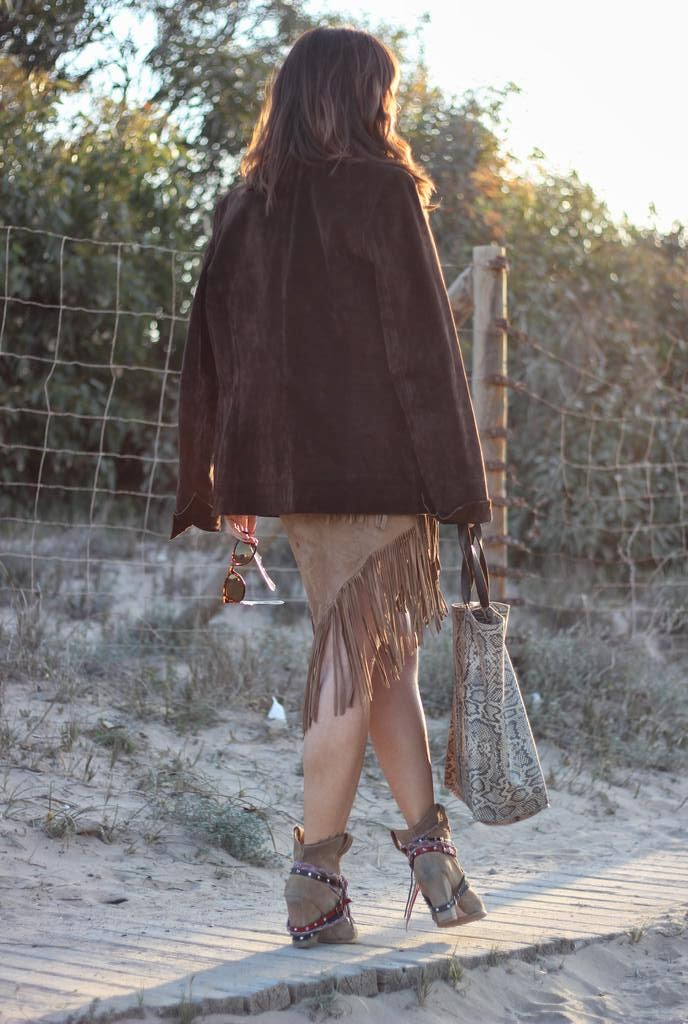 Falda flecos - Blazer Ante - bolso animal print