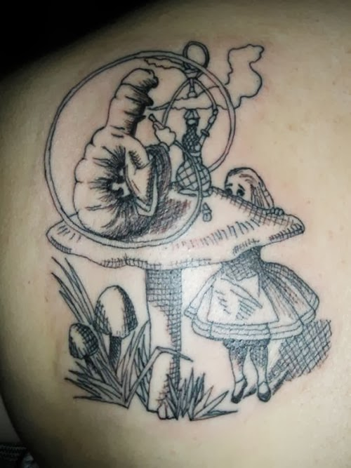 Black White Classic Book Alice Tattoo