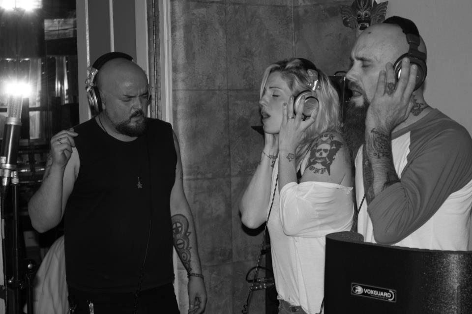 Brody Dalle recording with Alain Johannes and Nick Oliveri