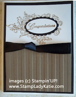 Card uses Stampin'UP!s Elizabeth stamp and the Stripes embossing folder