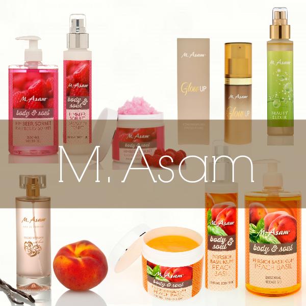 M. Asam Himbeersorbet, Glow Up Tönungsfluid, Vino Gold Beauty Elixir, Frolm Mirjam with love, Pfirsich Basilikum
