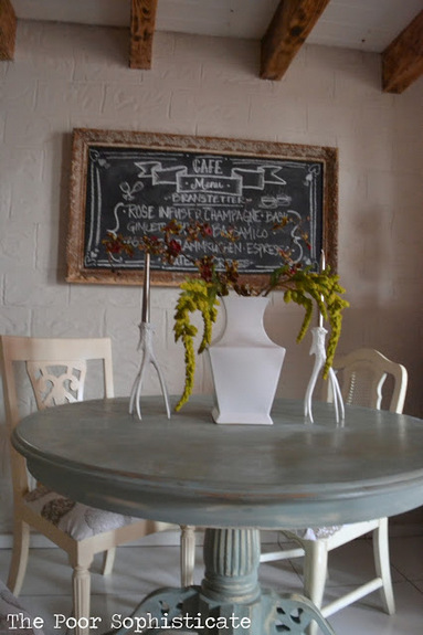 i distressed the table so that wear and tear would only add more character   distressed table tops are a great solution if you have     the poor sophisticate  duck egg blue kitchen table transformation  rh   thepoorsophisticate blogspot com