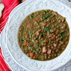 Lentil Soup with Ham and Kale