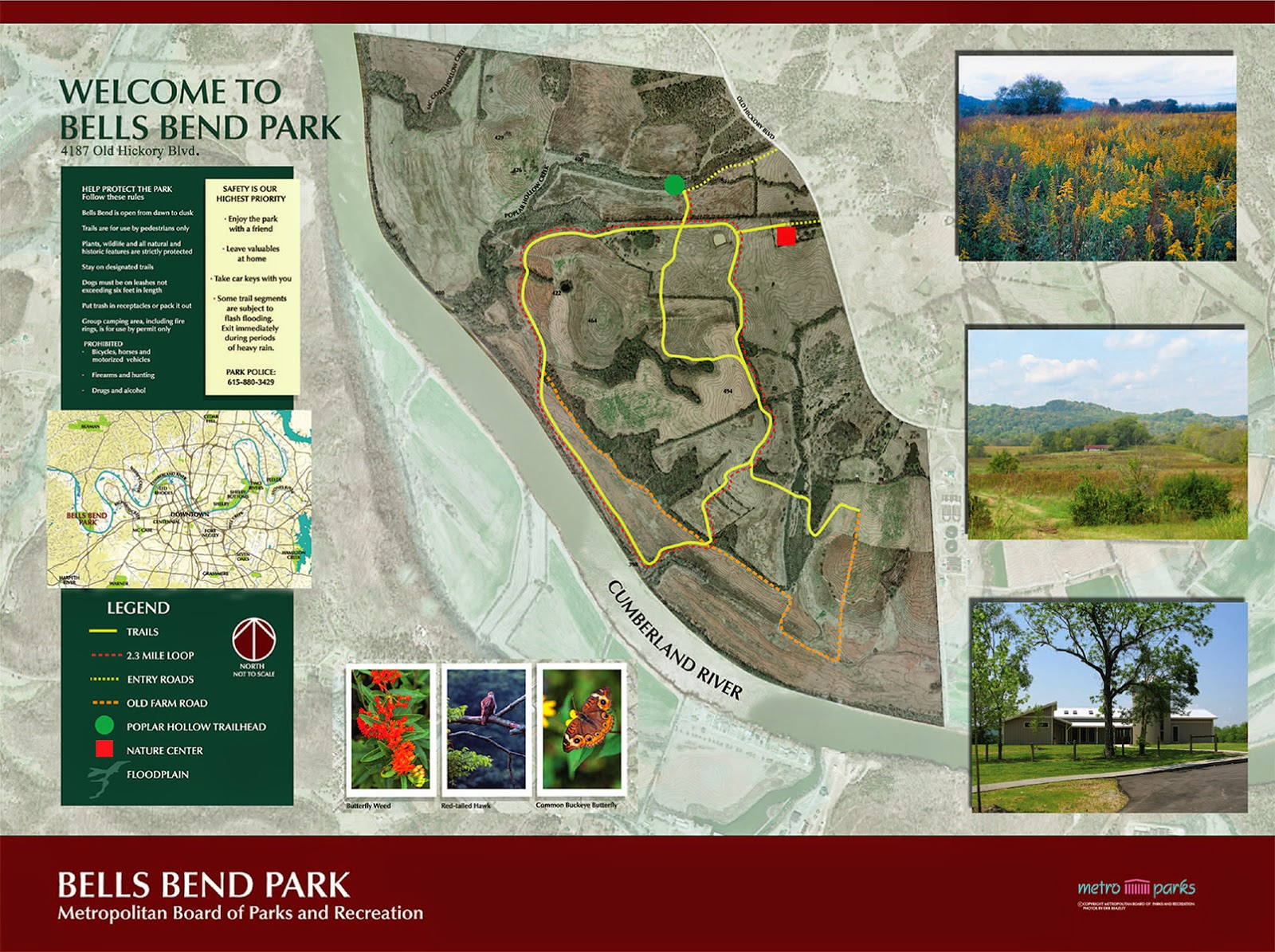Map of Bells Bend Park in Nashville, TN