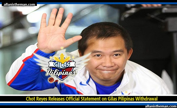 Chot Reyes Releases Official Statement on Gilas Pilipinas Withdrawal