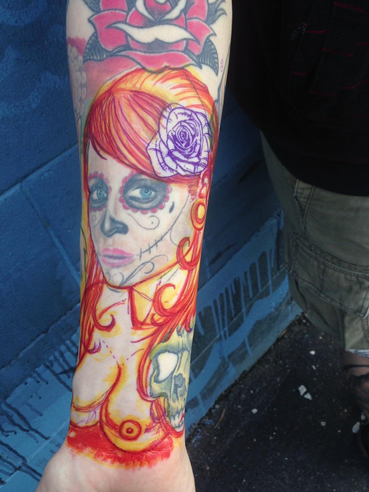 Tattoos & Art by: DAVID EKSTROM: day of dead girl REWORK/COVERUP