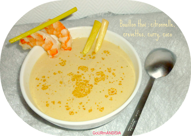 image Bouillon thaï : citronnelle, crevettes, curry, coco