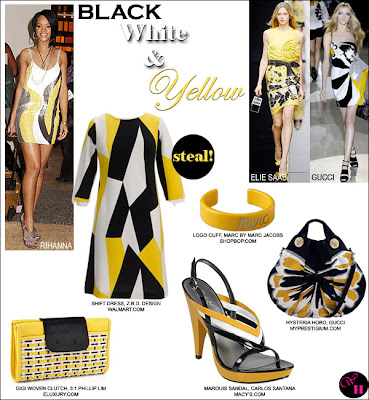 black white yellow fashion
