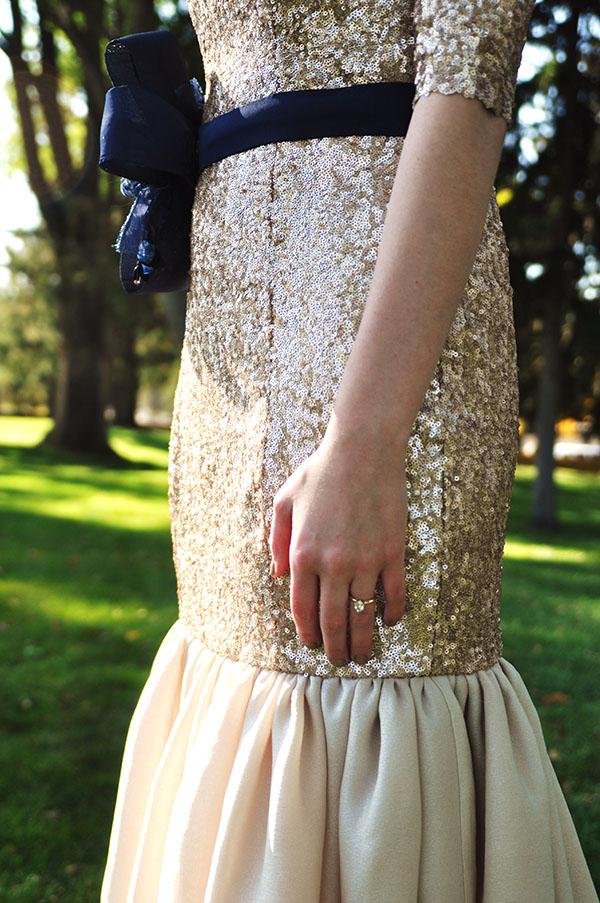 Abree original cutting fashion 9 gold sequin wedding gown for How much is a custom wedding dress