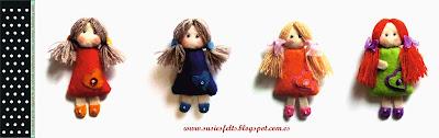 Susies, pippis, broches, fieltro, muñecas