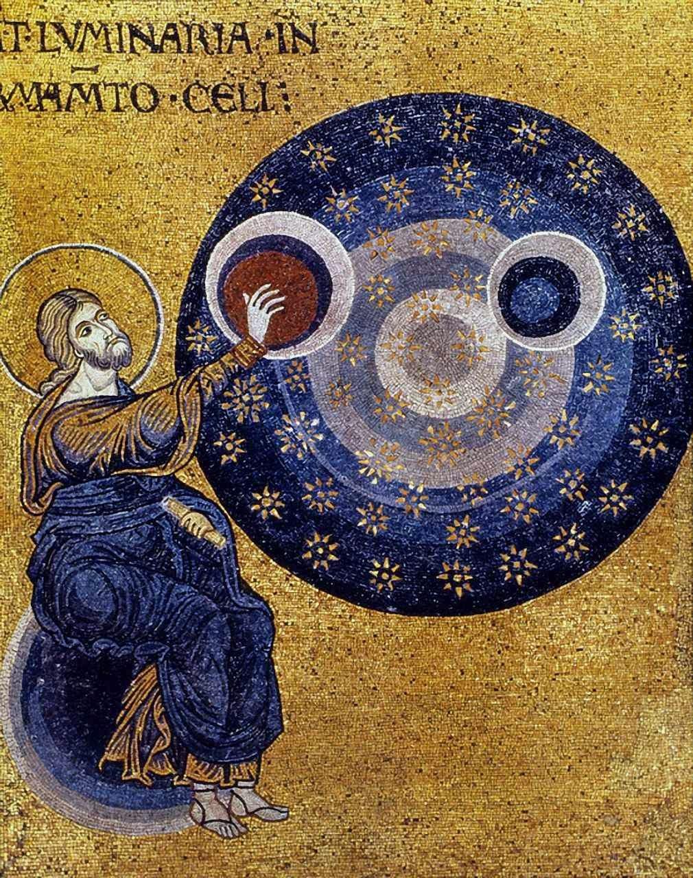Fenômenos como o identificado pela NASA postulam a existência de um Deus que criou o mundo com infinita sabedoria e o governa com insondável poder. Mosaico siciliano do século XII