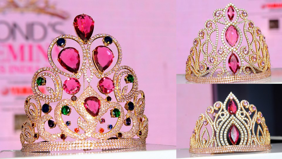 Clockwise from left: The Miss India World 2013 Tiara, Miss India Earth 2013 Tiara and Miss India International 2013 Tiara.