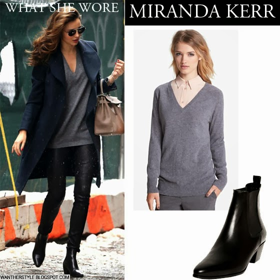 What She Wore Miranda Kerr In Black Leather Pants With Grey Sweater