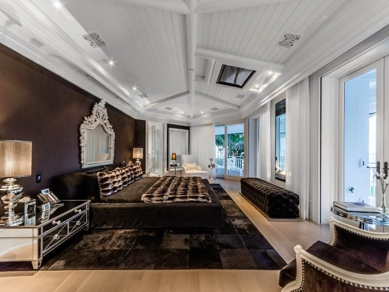 Black and white bedroom in Custom built celebrity home for Celine Dion