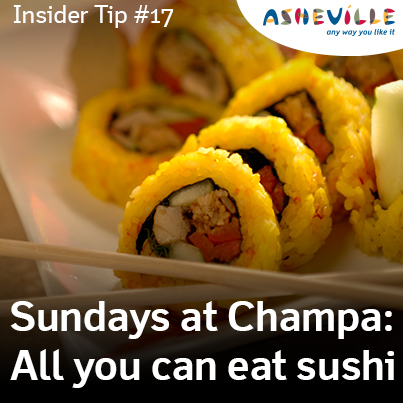 Asheville Insider Tip: All You Can Eat Sushi at Champa