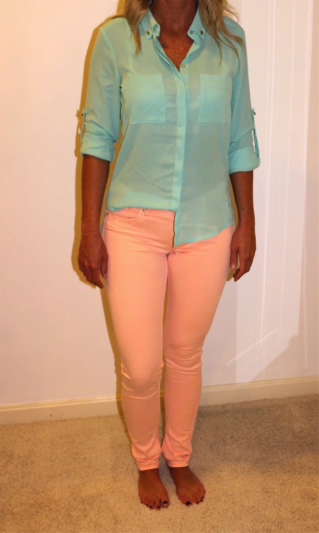 H&M teal button up blouse